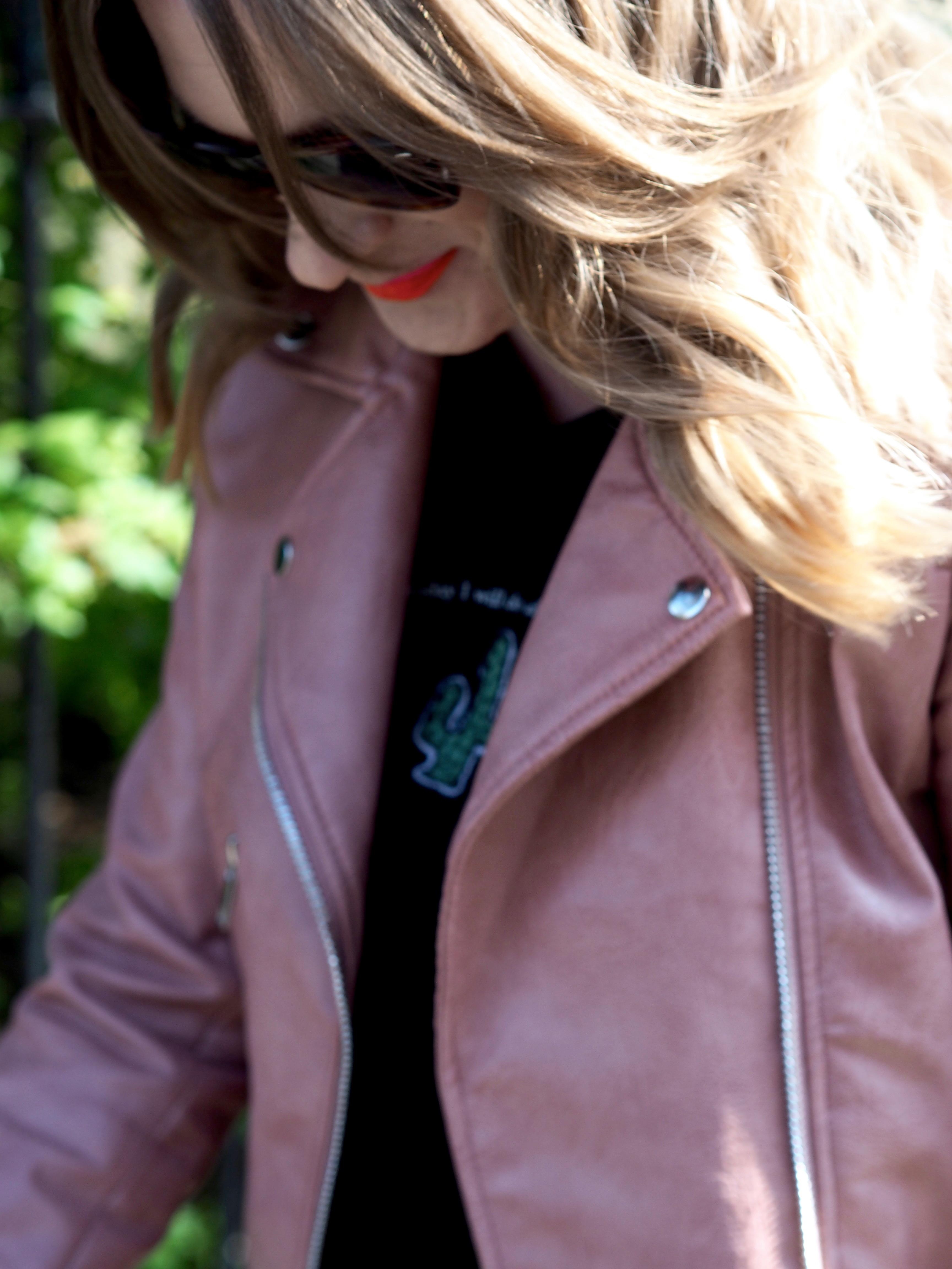Blush pink leather jacket