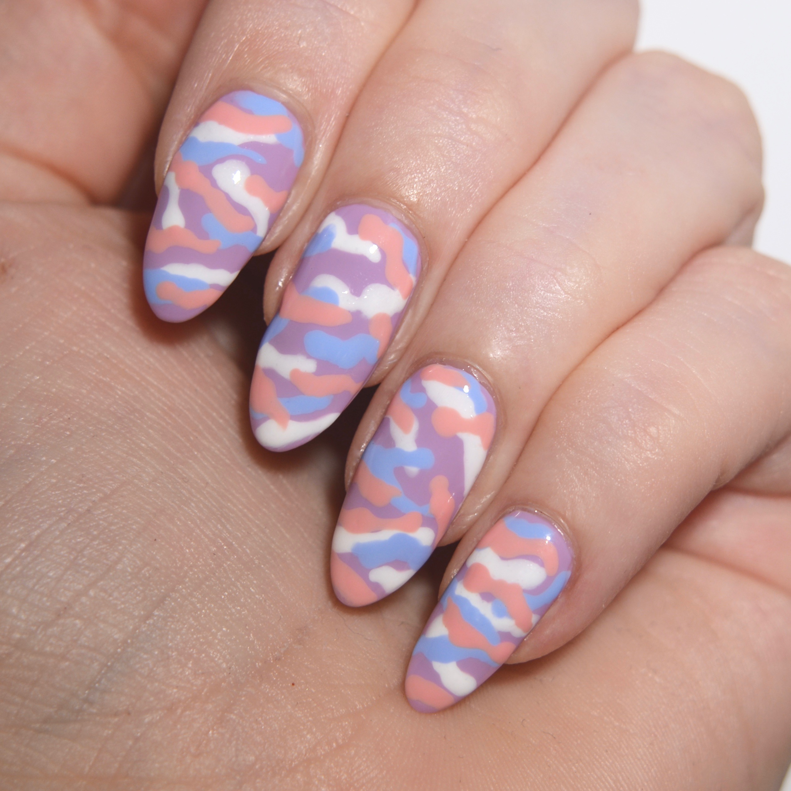 Pastel camouflage nail art