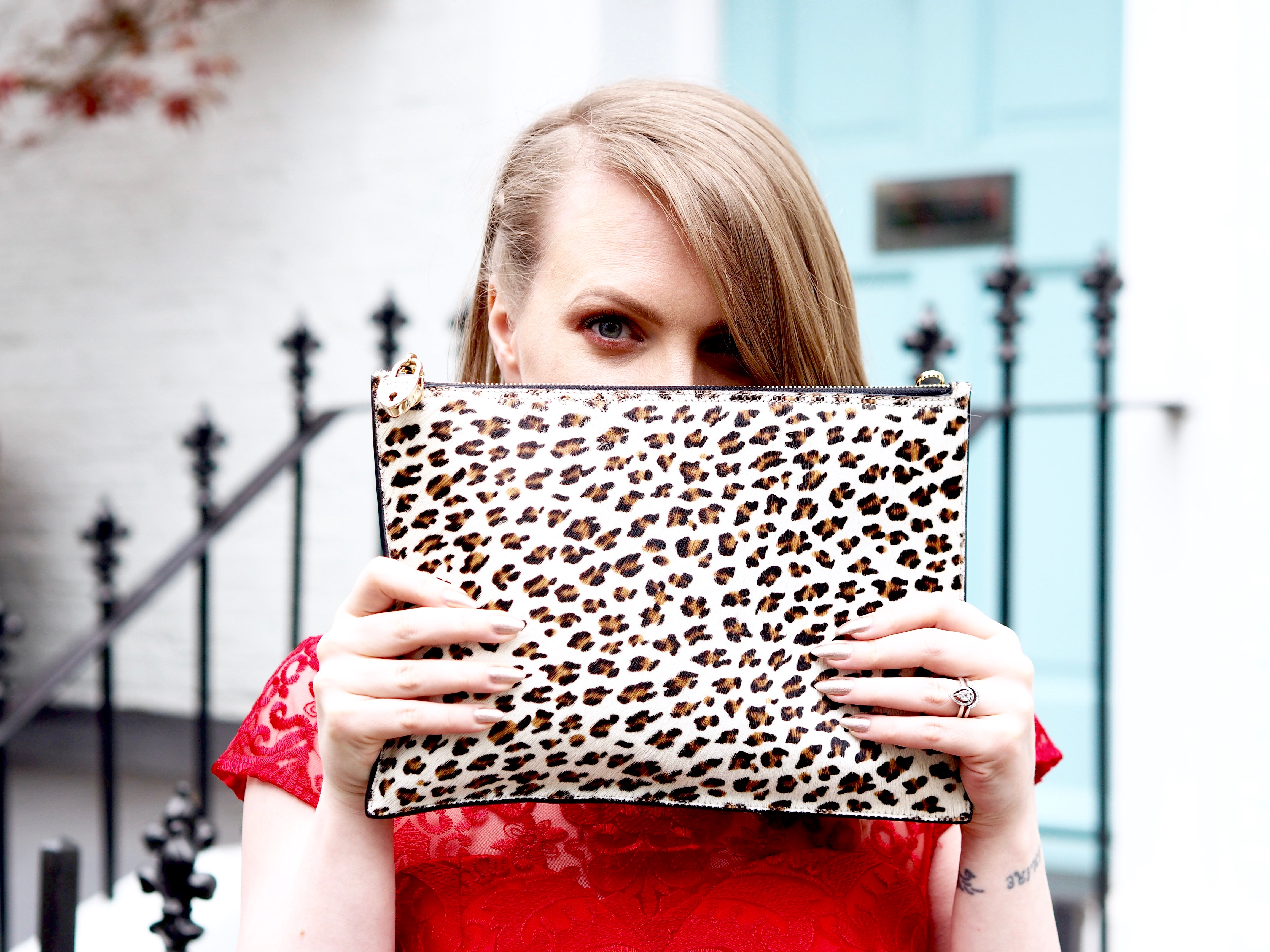 What I wore to the Blogosphere Blog Awards: red ChiChi dress, leopard print Aspinal clutch, ChiChi Bow shoes