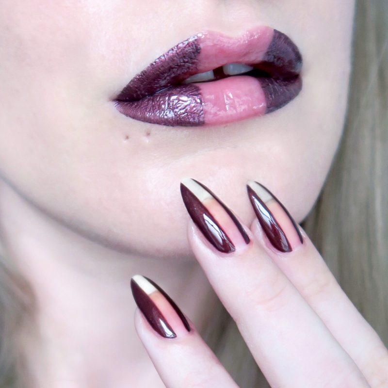 Negative space lip art and nail art, metallic purple make up (Talonted Lips And Tips)