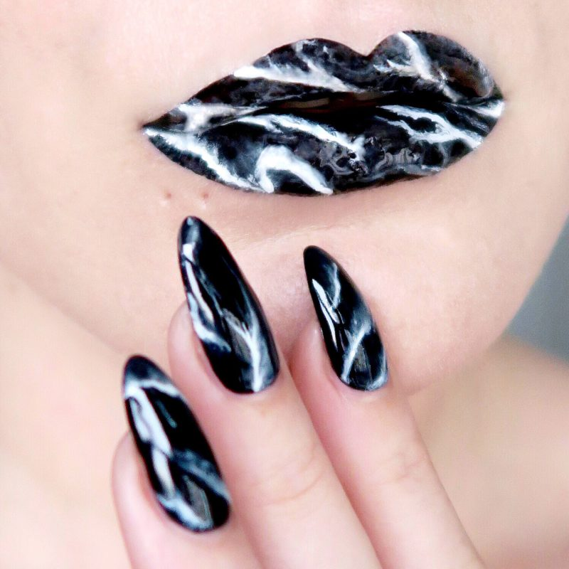 Marble lip art and nail art (Talonted Lips And Tips challenge)