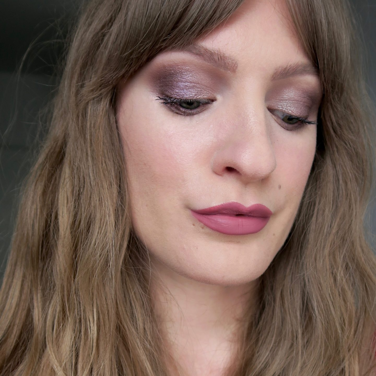 Purple smokey eye, nude lipstick (NYX In Your Element 'Metals' palette)