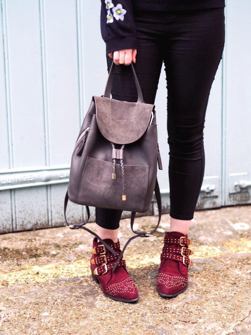 Zara Kids... not just for kids! (embroidered floral jumper, skinny jeans, ankle boots, grey rucksack)